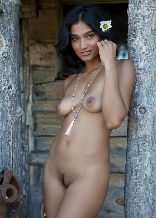 Exotic babe naked at an old cabin