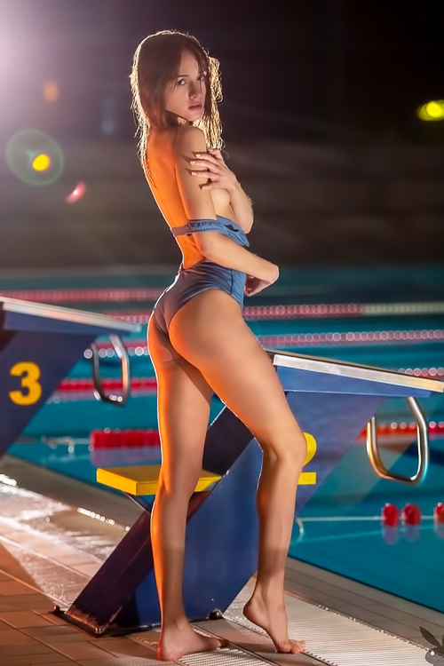 Night strip at the swimming pool