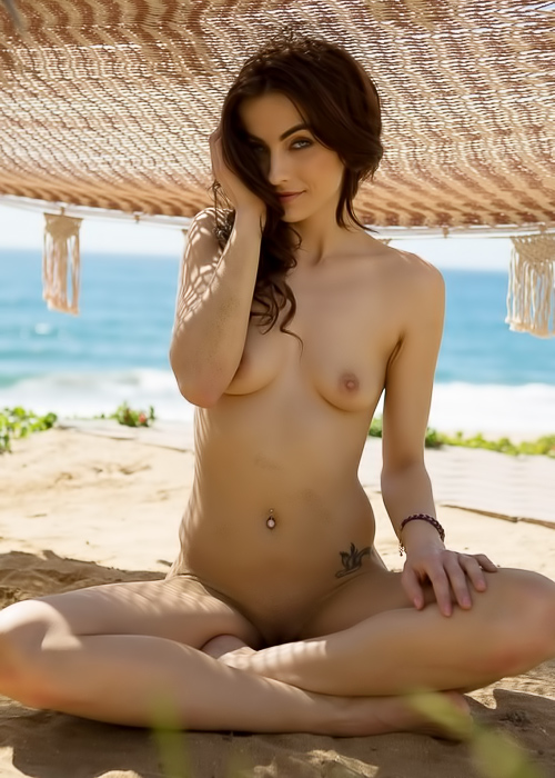 Brunette beach babe gets naked