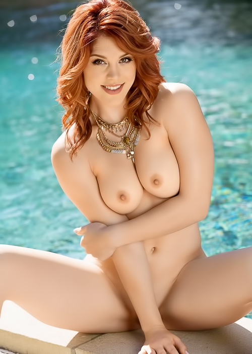 Ginger chick shows her body at pool