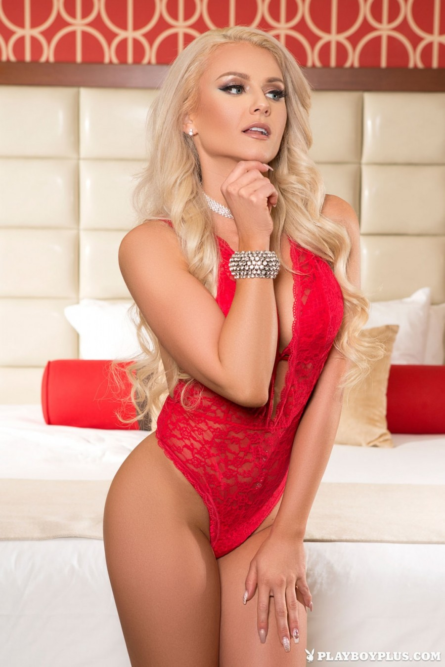 Bombshell blonde in lingerie