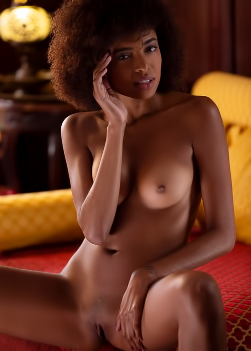 Ebony cutie caresses her hot body