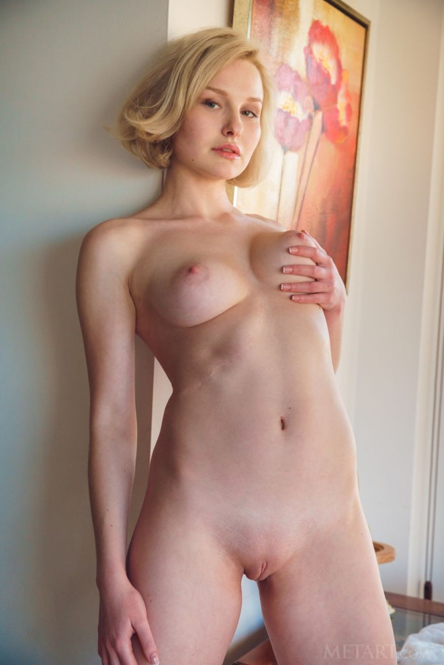 Short haired blonde with perfect tits