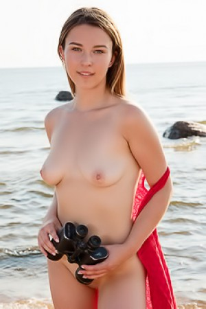 Sexy Brunette Dominika Jule With Naked Fantastic Body On Beach
