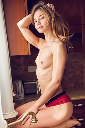 Nedda A Strips Naked In The Kitchen